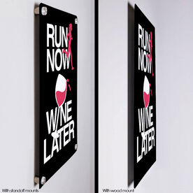 "Running 18"" X 12"" Wall Art - Run Now Wine Later"