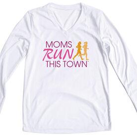 Women's Running Long Sleeve Tech Tee - Moms Run This Town Poppy Logo