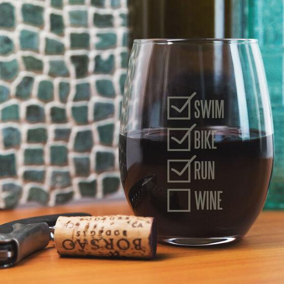 Triathlon Stemless Wine Glass Swim Bike Run Checklist
