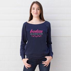 Fleece Wide Neck Sweatshirt - Badass Warrior