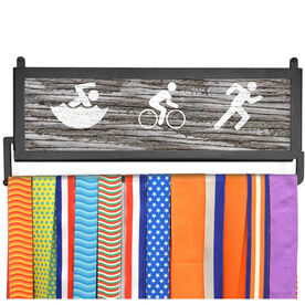 TriathletesWALL Rustic Swim Bike Run Medal Display
