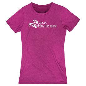 Women's Everyday Runners Tee - She Runs This Town Logo (White)