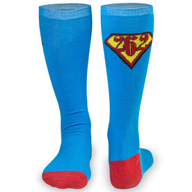 Woven Yakety Yak! Knee High Socks - 26.2 Super Runner (Teal/Red)