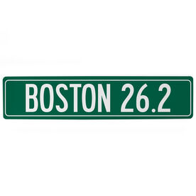 "Running Aluminum Room Sign - Boston 26.2 (4""x18"")"