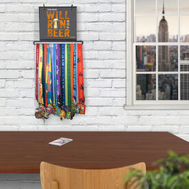 BibFOLIO+™ Race Bib and Medal Display - Will Run For Beer