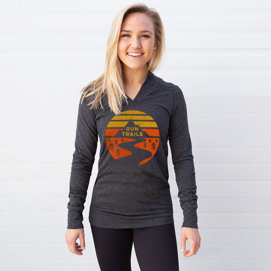 Women's Running Lightweight Performance Hoodie - Run Trails Sunset