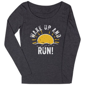 Women's Runner Scoop Neck Long Sleeve Tee - Wake Up And Run