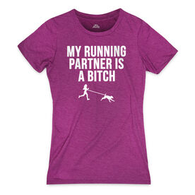 Women's Everyday Runners Tee - My Running Partner Is A Bitch (Bold)