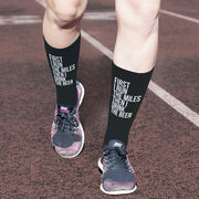 Running Printed Mid-Calf Socks - Then I Drink The Beer