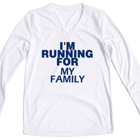 Women's Customized White Long Sleeve Tech Tee I'm Running For - Text