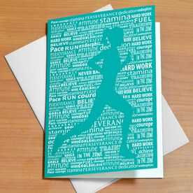 Inspirational Words Female Teal Greeting Card