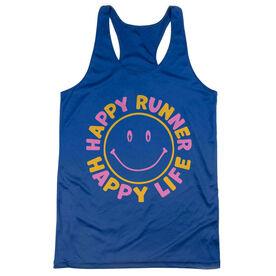 Women's Racerback Performance Tank Top - Happy Runner Happy Life