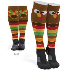 Printed Knee-High Socks - Goofy Turkey With Stripes