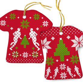 Running Porcelain Ornament Ugly Christmas Sweater  Male