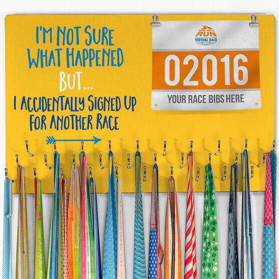Running Large Hooked on Medals and Bib Hanger - Signed Up For Another Race
