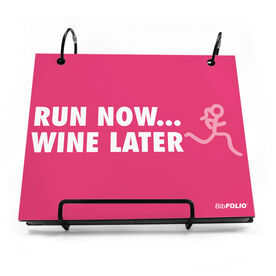 BibFOLIO® Race Bib Album - Run Now Wine Later with Stick Figure Girl