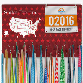 Hooked On Medals Bib & Medal Display Dry Erase Running the USA Map