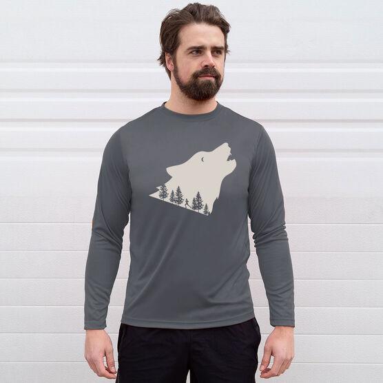 Men's Running Long Sleeve Tech Tee - Run Wild Wolf