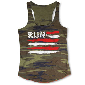 Running Camouflage Racerback Tank Top - Run For The Red White and Blue