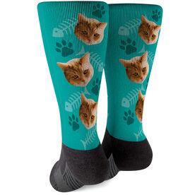Printed Mid-Calf Socks - Custom Cat Face
