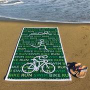 Triathlon Premium Beach Towel - Swim Bike Run Male Figures