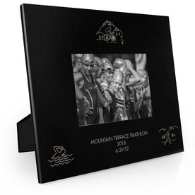 Triathlon Engraved Picture Frame - Swim Bike Run Scenery