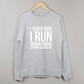 Running Raglan Crew Neck Sweatshirt - I Teach Kids I Run Marathons