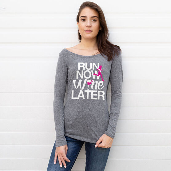 Women's Runner Scoop Neck Long Sleeve Tee Run Now Wine Later (Bold)