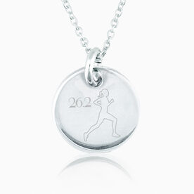 Sterling Silver 26.2 Marathon Runner Engraved 20mm Pendant Necklace