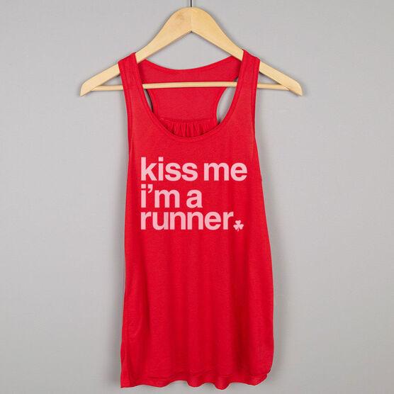 Running Flowy Racerback Tank Top - Kiss Me I am a Runner Saying