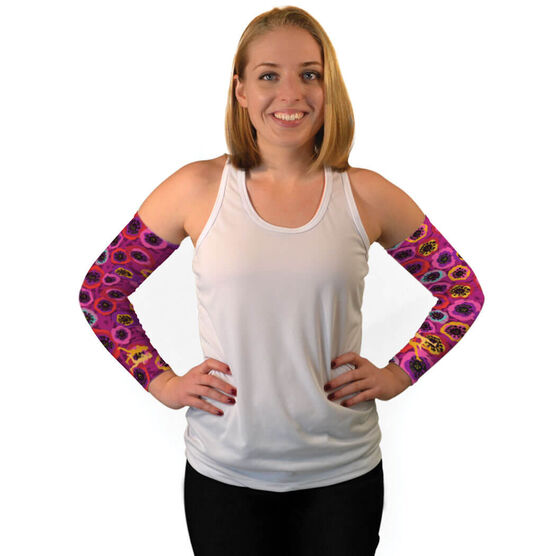 Running Arm Sleeves - Moms Run This Town Poppy Pattern