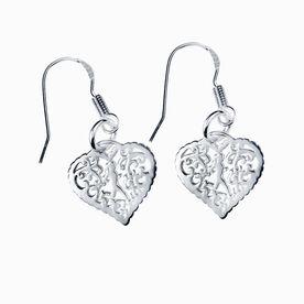Livia Collection Sterling Silver Filigree Runner Heart Earrings