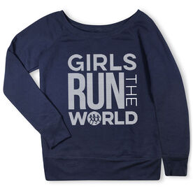 Running Fleece Wide Neck Sweatshirt - Girls Run The World