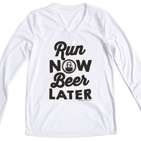 Women's Running Long Sleeve Tech Tee Run Club Run Now Beer Later