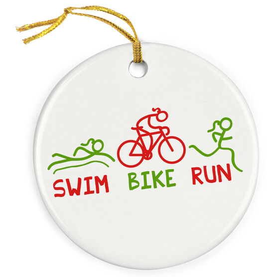 Triathlon Porcelain Ornament Swim Bike Run (Female)