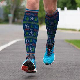 Running Printed Knee-High Socks - Christmas Sweater