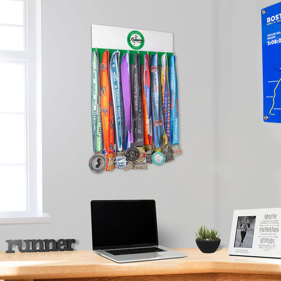 Running Hooked on Medals Hanger - Pacific Northwest Ladies Running Group Logo