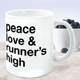 Running Coffee Mug - Peace Love & Runner's High