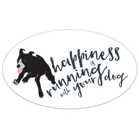 Happiness Is Running With Your Dog Oval Car Magnet