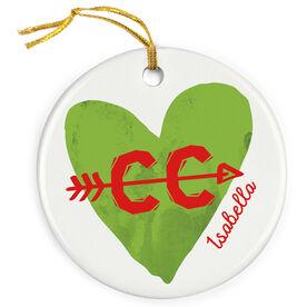 Cross Country Porcelain Ornament Watercolor Heart Arrow
