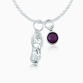 Sterling Silver 26.2 Shoe Tread Necklace