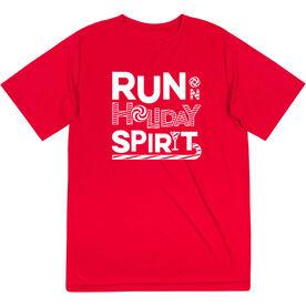 Men's Running Short Sleeve Performance Tee -  Run On Holiday Spirit