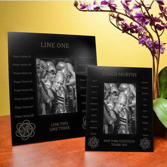 Triathlon Engraved Picture Frame - Team Name With Roster (Coach)