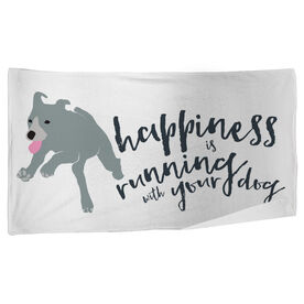 Running Beach Towel Happiness Is Running With Your Dog