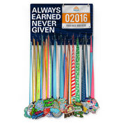 Running Large Hooked on Medals and Bib Hanger - Always Earned Never Given