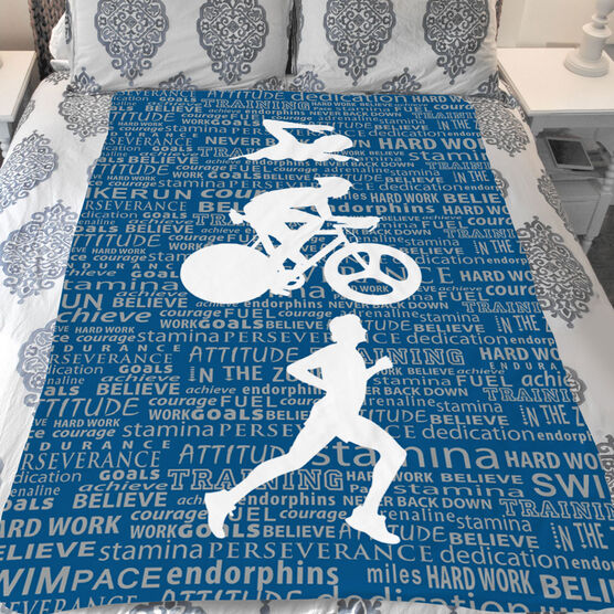 Triathlon Sherpa Fleece Blanket - Swim Bike Run Inspiration Male