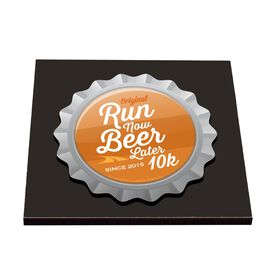 Run Now Beer Later 10K - Glossy Tile Coaster