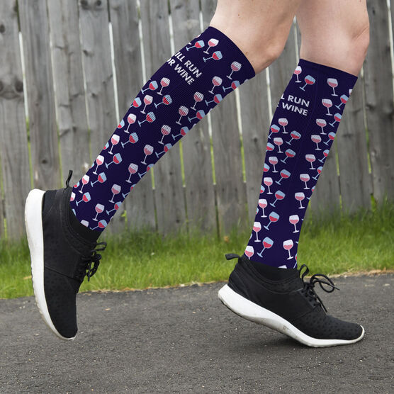 Running Printed Knee-High Socks - Will Run For Wine