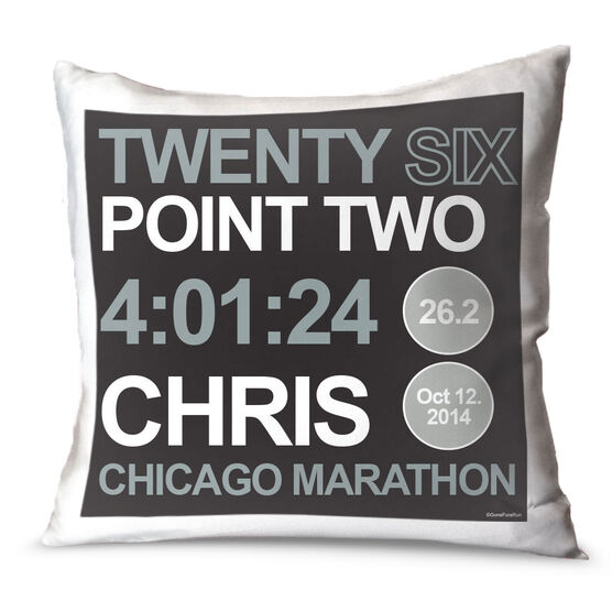 Running Throw Pillow Personalized Twenty Six Point Two Series