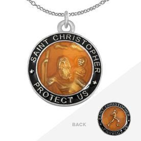 Runners St. Christopher Medal Necklace - Orange/Black (2.3cm)